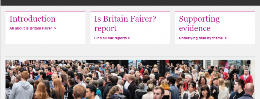 Screen-grab showing imagery from the 'Is Britain Fairer?' report, published by the British Human Rights and Equality Commission in October 2015