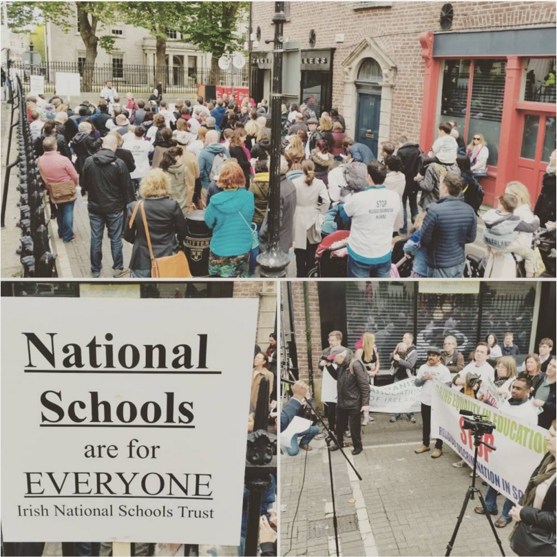 Photographs taken by James earlier this year during a protest about school admission policies.