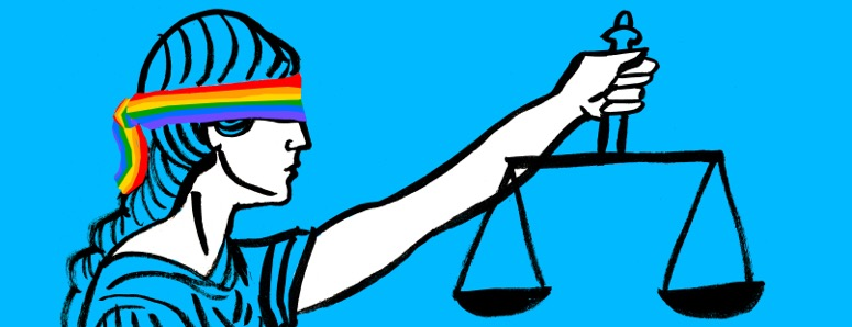 Illustration to accompany Lydia Foy story, showing lady justice holding scales of justice, wearing an LGBT rainbow-coloured blindfold