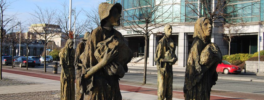 Famine Memorial statues in Dublin
